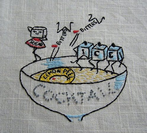 Vintage Cocktail graphic embroidery