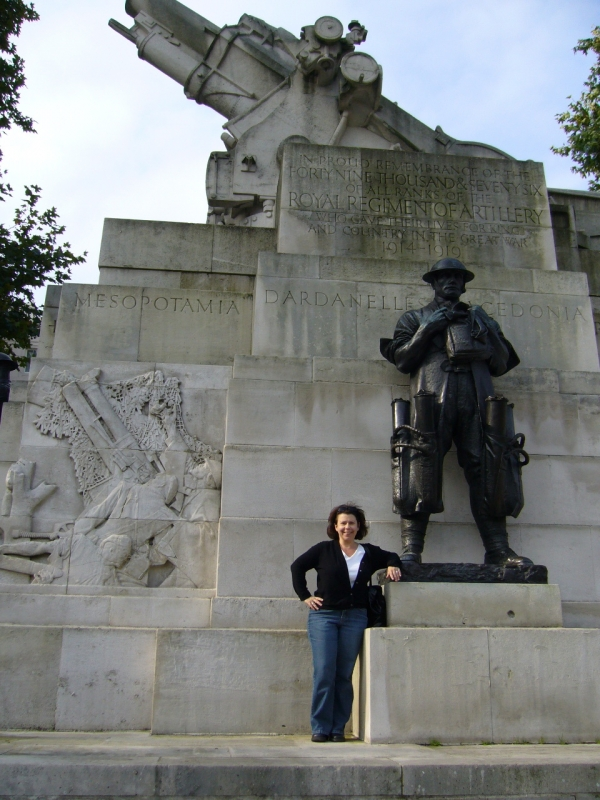 Cristy with WWI monument
