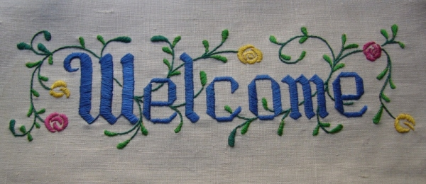 Welcome embroidery